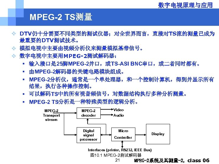 数字电视原理与应用 MPEG-2 TS测量 v DTV仍十分需要不同类型的测试仪器;对全世界而言,直接对TS流的测量已成为 最重要的DTV测试技术。 v 模拟电视中主要由视频分析仪来测量模拟基带信号。 v 数字电视中主要用MPEG-2测试解码器: § 输入接口是 25脚MPEG-2并口,或TS-ASI BNC串口,或二者同时都有。