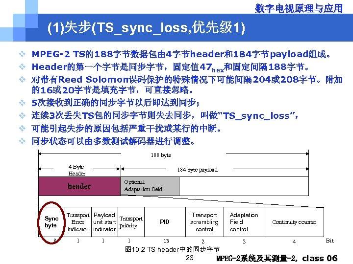 数字电视原理与应用 (1)失步(TS_sync_loss, 优先级 1) v MPEG-2 TS的188字节数据包由 4字节header和184字节payload组成。 v Header的第一个字节是同步字节,固定值 47 hex和固定间隔 188字节。 v