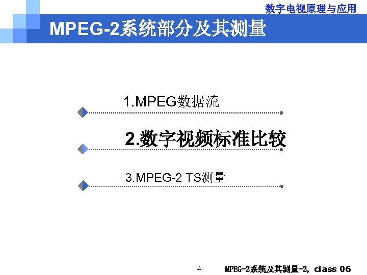 数字电视原理与应用 MPEG-2系统部分及其测量 1. MPEG数据流 2. 数字视频标准比较 3. MPEG-2 TS测量 4 MPEG-2系统及其测量-2, class 06