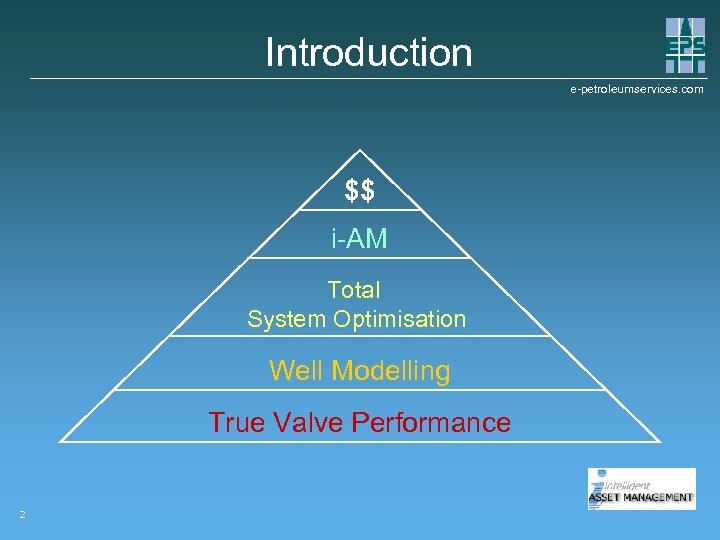 Introduction e-petroleumservices. com $$ i-AM Total System Optimisation Well Modelling True Valve Performance 2