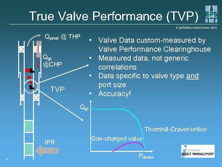 True Valve Performance (TVP) e-petroleumservices. com Qprod @ THP Qgi @CHP TVP • Valve