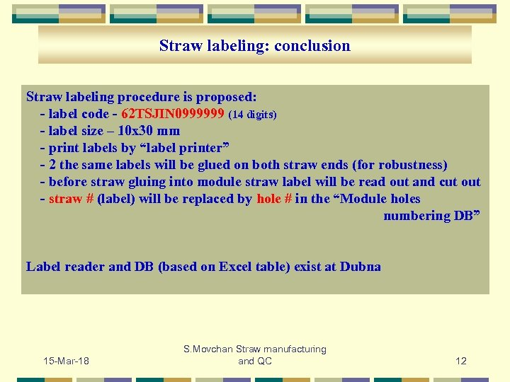 Straw labeling: conclusion Straw labeling procedure is proposed: - label code - 62 TSJIN