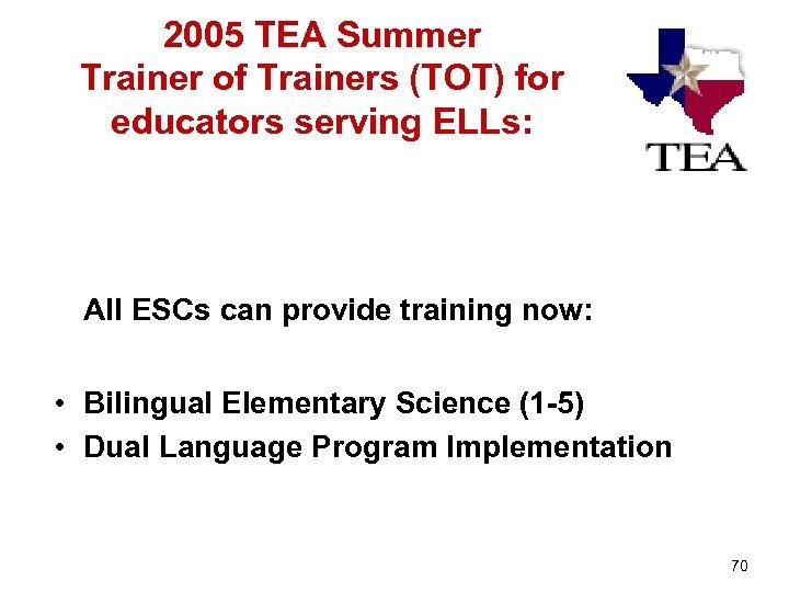 2005 TEA Summer Trainer of Trainers (TOT) for educators serving ELLs: All ESCs can