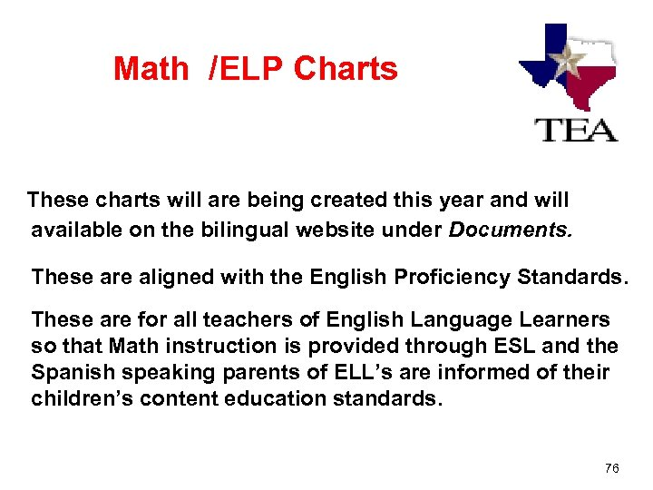 Math /ELP Charts These charts will are being created this year and will available