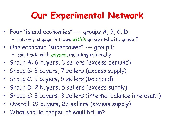 "Our Experimental Network • Four ""island economies"" --- groups A, B, C, D –"