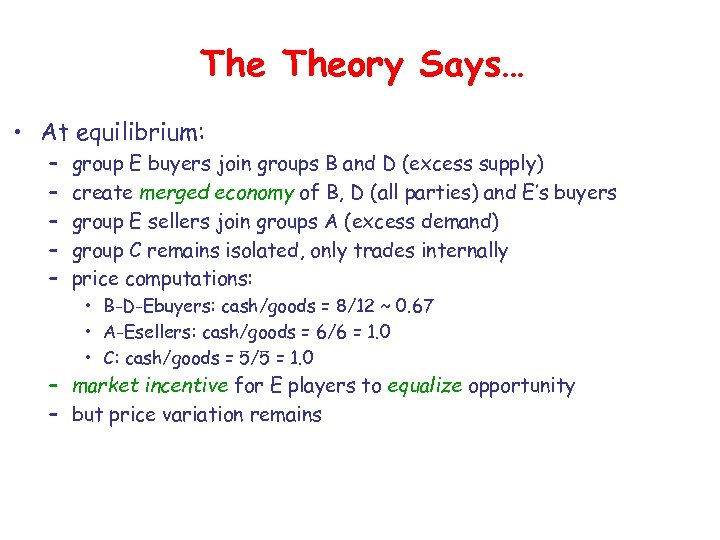 The Theory Says… • At equilibrium: – – – group E buyers join groups