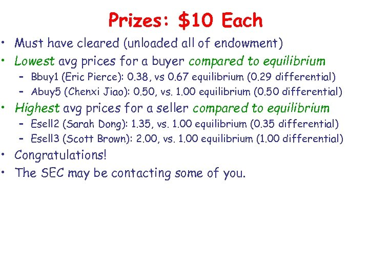 Prizes: $10 Each • Must have cleared (unloaded all of endowment) • Lowest avg