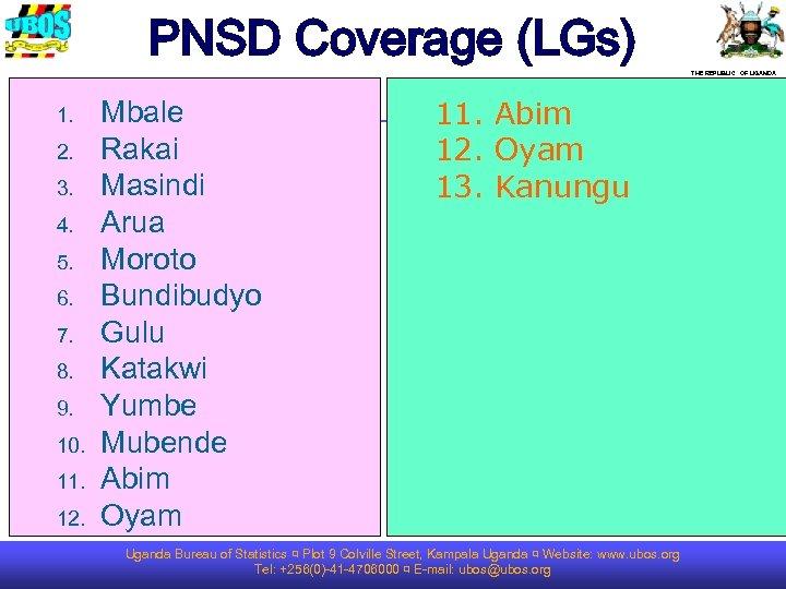 PNSD Coverage (LGs) THE REPUBLIC OF UGANDA 1. 2. 3. 4. 5. 6. 7.