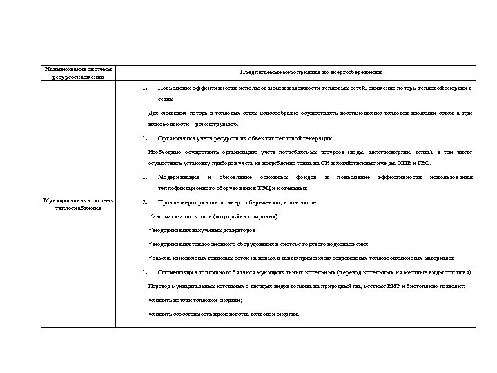 Наименование системы ресурсоснабжения Предлагаемые мероприятия по энергосбережению 1. Повышение эффективности использования и надежности тепловых