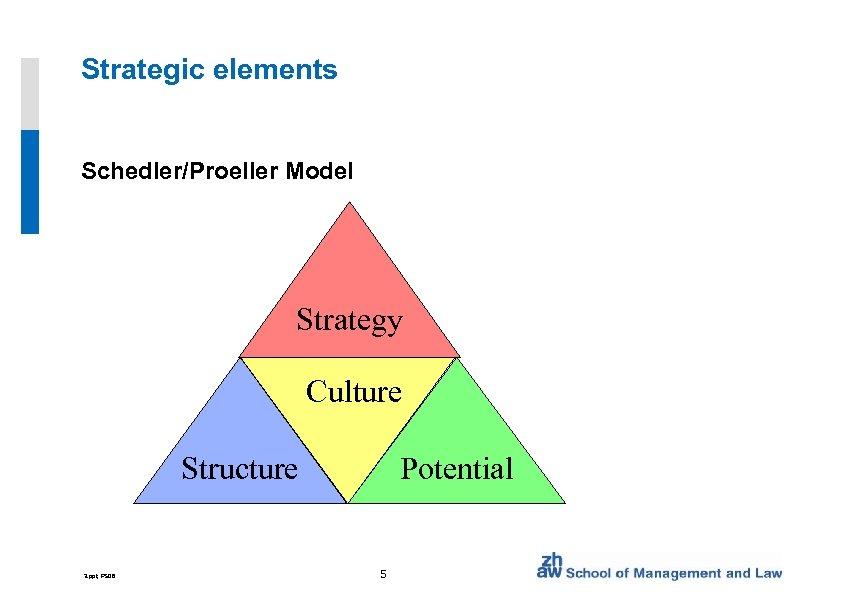 Strategic elements Schedler/Proeller Model Strategy Culture Structure 3. ppt, FS 08 Potential 5