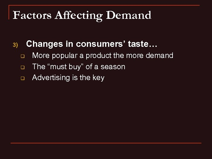 Factors Affecting Demand Changes in consumers' taste… 3) q q q More popular a