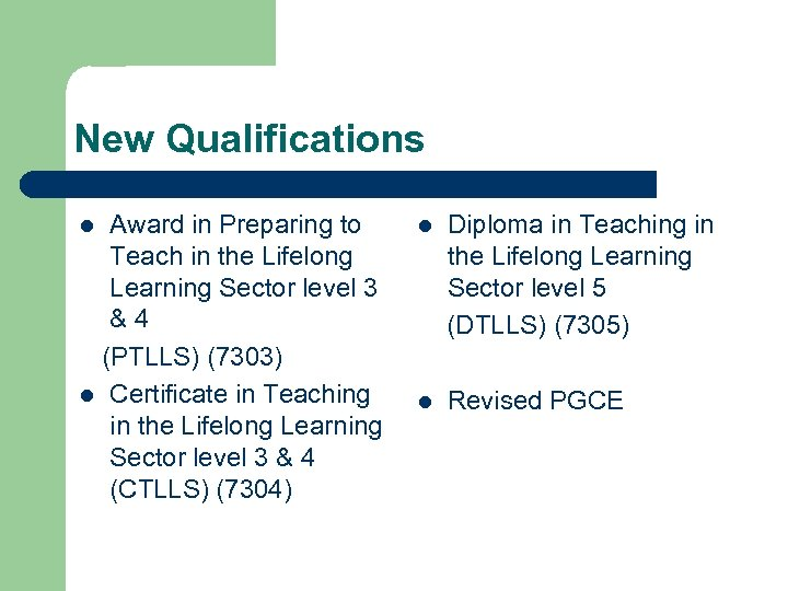 New Qualifications Award in Preparing to Teach in the Lifelong Learning Sector level 3