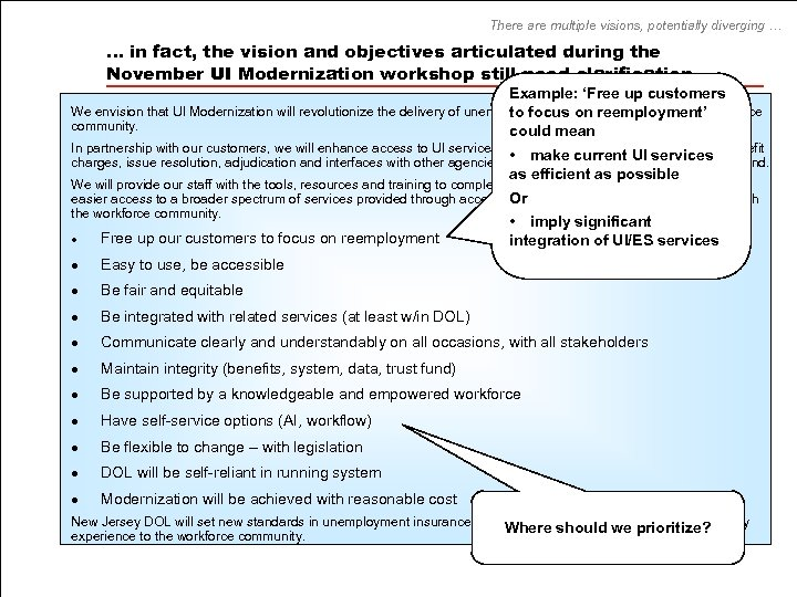 There are multiple visions, potentially diverging … … in fact, the vision and objectives