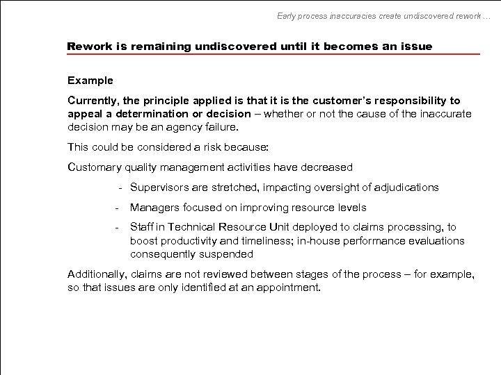 Early process inaccuracies create undiscovered rework … Rework is remaining undiscovered until it becomes