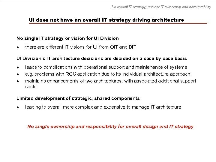 No overall IT strategy; unclear IT ownership and accountability UI does not have an