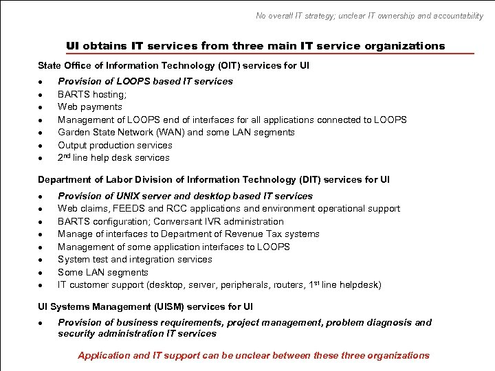 No overall IT strategy; unclear IT ownership and accountability UI obtains IT services from