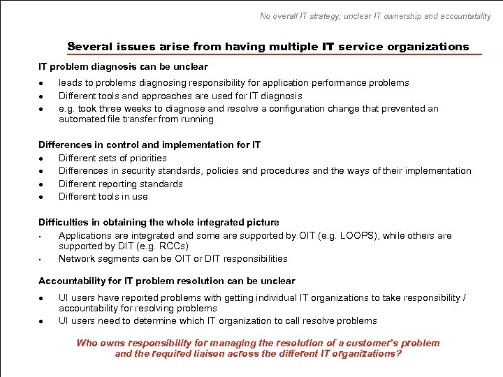 No overall IT strategy; unclear IT ownership and accountability Several issues arise from having