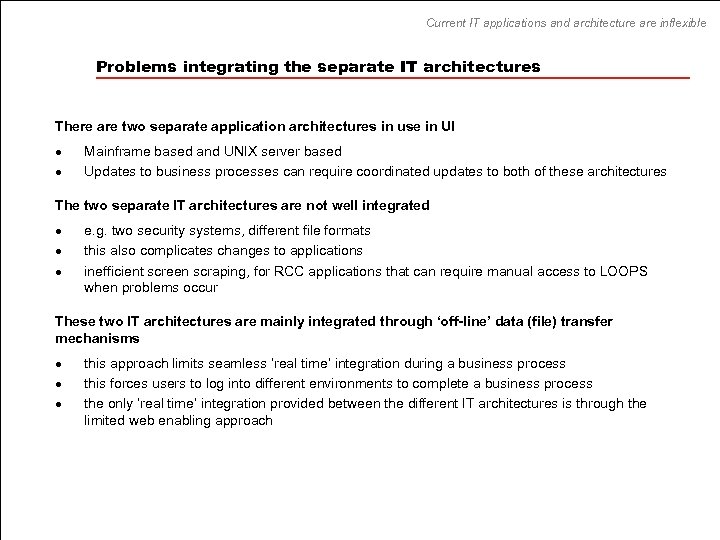 Current IT applications and architecture are inflexible Problems integrating the separate IT architectures There