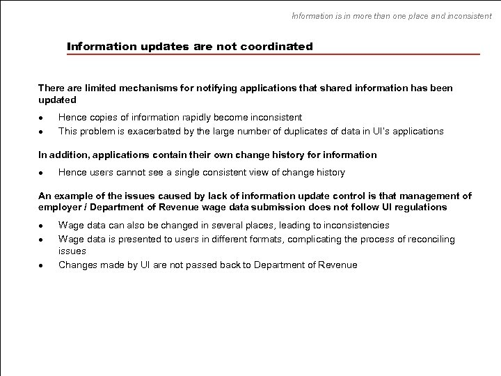 Information is in more than one place and inconsistent Information updates are not coordinated