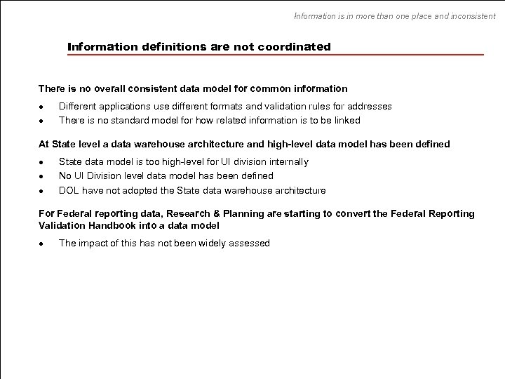 Information is in more than one place and inconsistent Information definitions are not coordinated