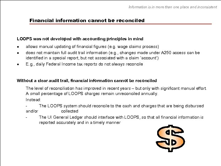 Information is in more than one place and inconsistent Financial information cannot be reconciled