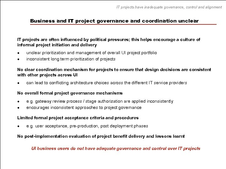 IT projects have inadequate governance, control and alignment Business and IT project governance and