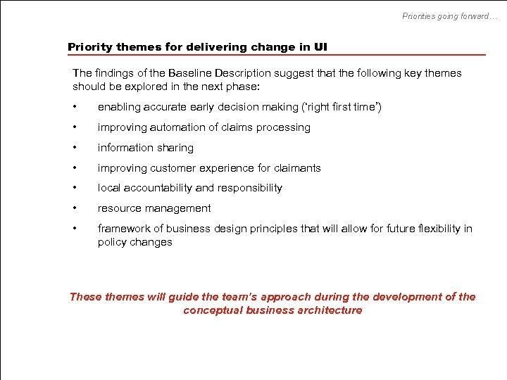 Priorities going forward… Priority themes for delivering change in UI The findings of the