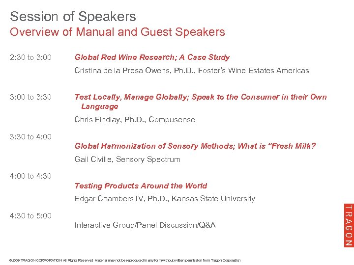 Session of Speakers Overview of Manual and Guest Speakers 2: 30 to 3: 00