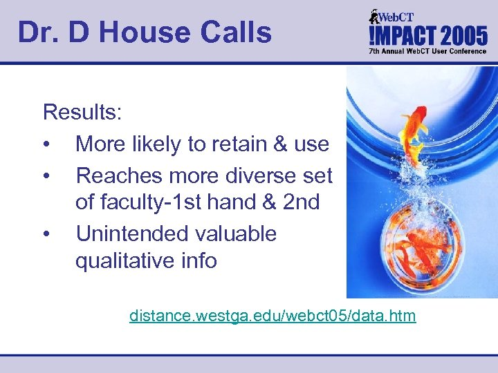 Dr. D House Calls Results: • More likely to retain & use • Reaches
