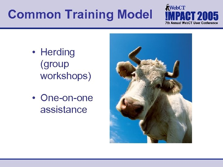 Common Training Model • Herding (group workshops) • One-on-one assistance