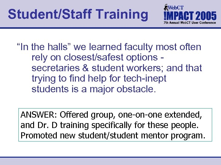 """Student/Staff Training """"In the halls"""" we learned faculty most often rely on closest/safest options"""