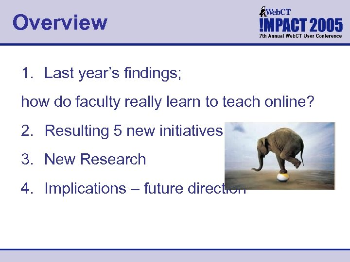 Overview 1. Last year's findings; how do faculty really learn to teach online? 2.