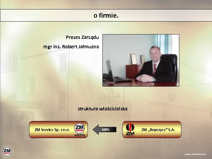 o firmie. Prezes Zarządu mgr inż. Robert Jałmużna struktura właścicielska ZM Service Sp. z