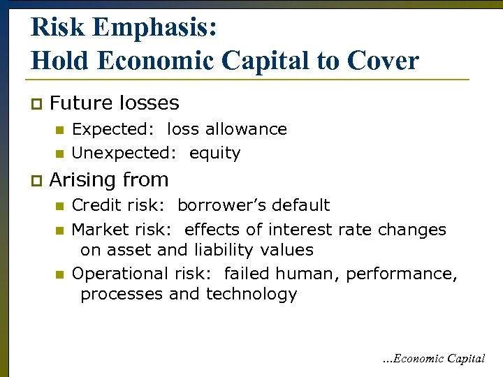 Risk Emphasis: Hold Economic Capital to Cover p Future losses n n p Expected: