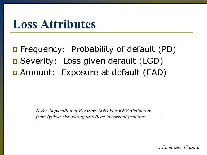 Loss Attributes Frequency: Probability of default (PD) p Severity: Loss given default (LGD) p