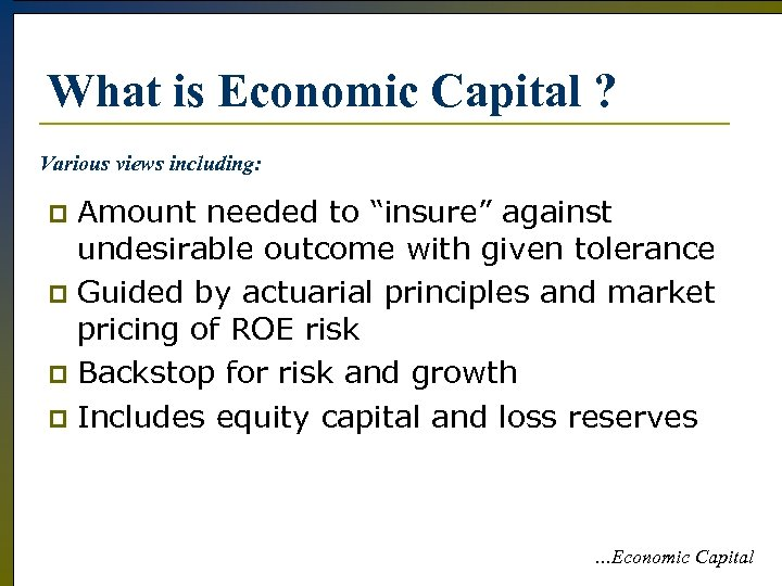 """What is Economic Capital ? Various views including: Amount needed to """"insure"""" against undesirable"""
