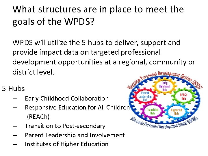 What structures are in place to meet the goals of the WPDS? WPDS will