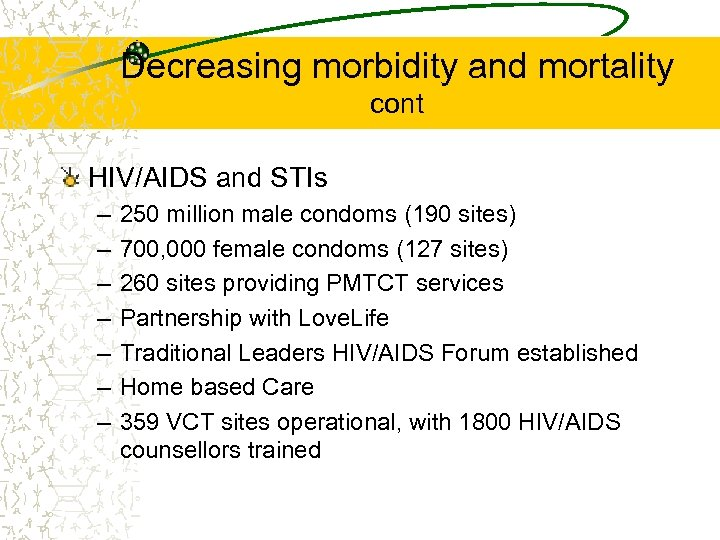 Decreasing morbidity and mortality cont HIV/AIDS and STIs – – – – 250 million