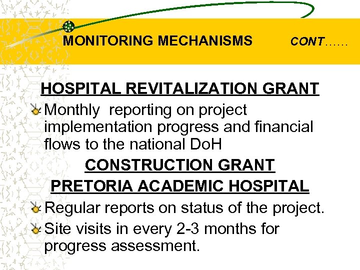 MONITORING MECHANISMS CONT…… HOSPITAL REVITALIZATION GRANT Monthly reporting on project implementation progress and financial