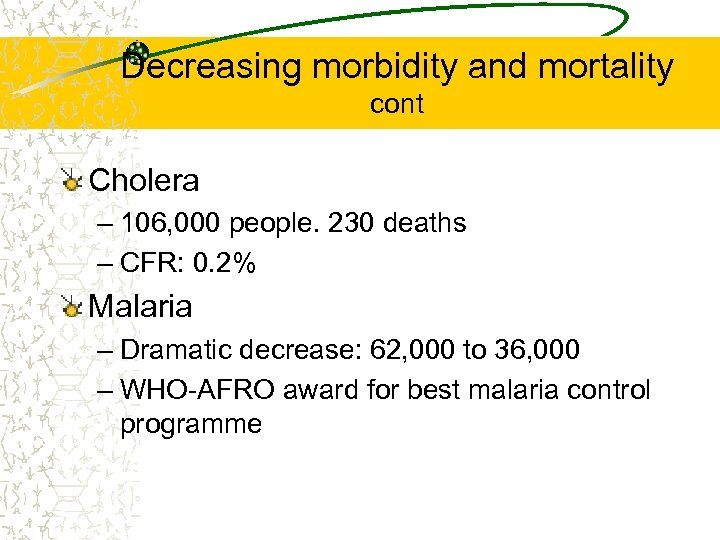 Decreasing morbidity and mortality cont Cholera – 106, 000 people. 230 deaths – CFR: