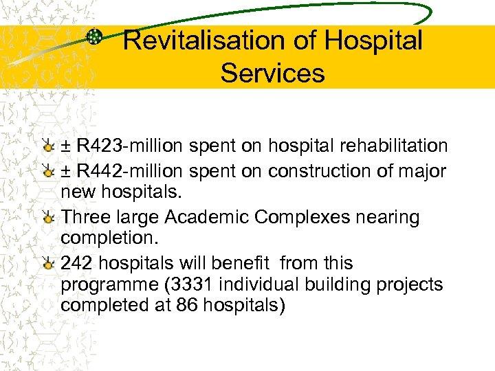 Revitalisation of Hospital Services ± R 423 -million spent on hospital rehabilitation ± R