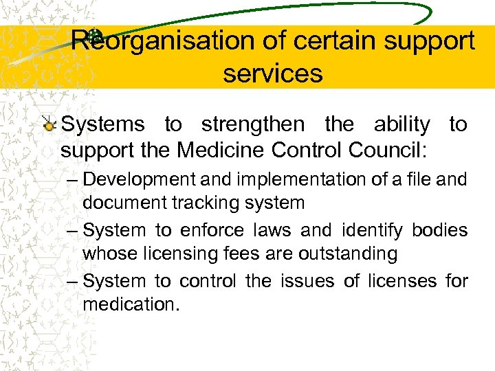 Reorganisation of certain support services Systems to strengthen the ability to support the Medicine