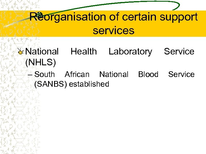 Reorganisation of certain support services National Health Laboratory Service (NHLS) – South African National