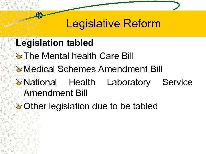 Legislative Reform Legislation tabled The Mental health Care Bill Medical Schemes Amendment Bill National