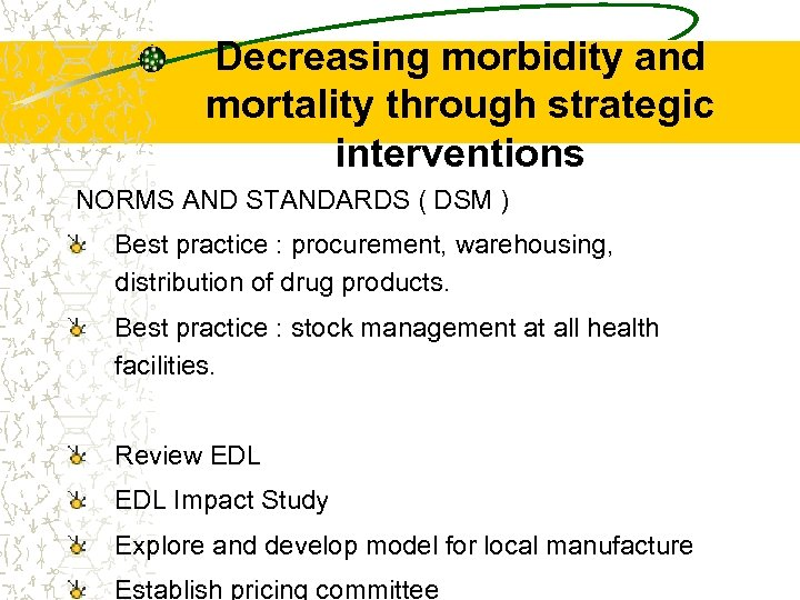 Decreasing morbidity and mortality through strategic interventions NORMS AND STANDARDS ( DSM ) Best