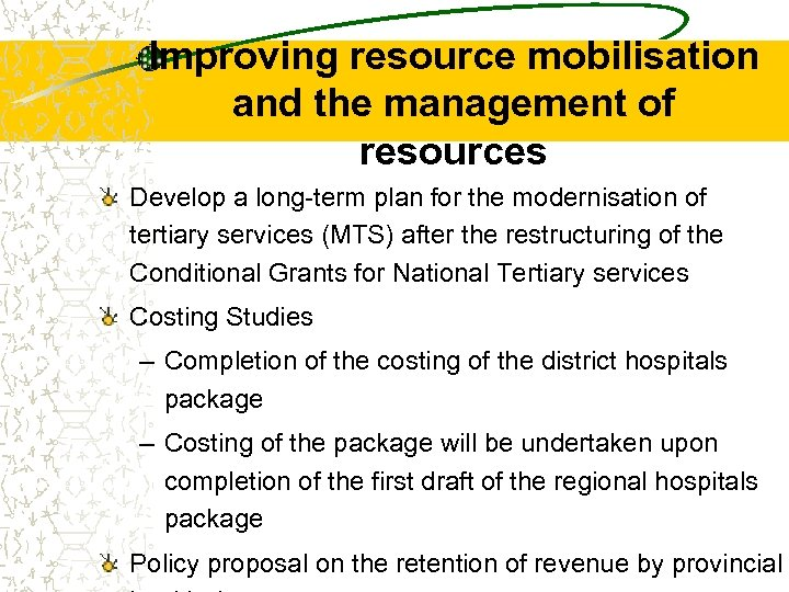 Improving resource mobilisation and the management of resources Develop a long-term plan for the