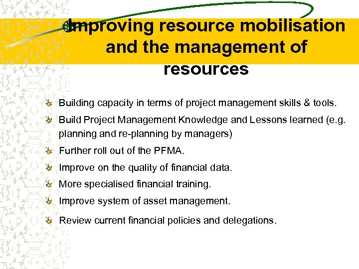 Improving resource mobilisation and the management of resources Building capacity in terms of project