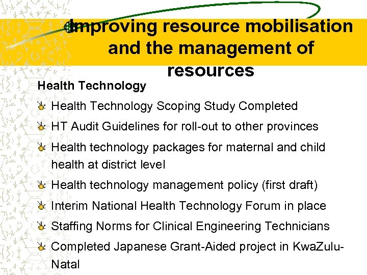 Improving resource mobilisation and the management of resources Health Technology Scoping Study Completed HT