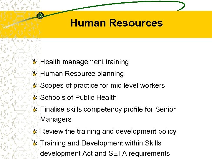 Human Resources Health management training Human Resource planning Scopes of practice for mid level