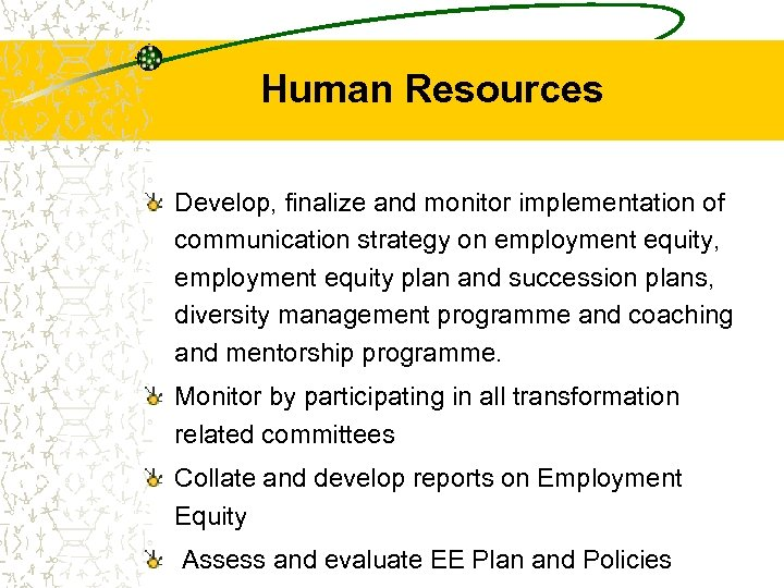 Human Resources Develop, finalize and monitor implementation of communication strategy on employment equity, employment